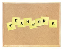 Word of Teamwork, composed on cork board. Royalty Free Stock Images