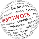Word teamwork on globe Royalty Free Stock Photography