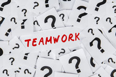 Word teamwork and question marks Stock Photo
