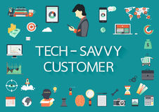 Word TECH - SAVVY CUSTOMER with involved flat icons around. vector illustration