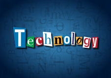 The word Technology made from cutout letters. On a blue background Royalty Free Stock Image