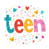 Word teen retro typography lettering decorative text. Word teen typography lettering decorative text Royalty Free Stock Photo