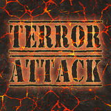 Word terror attack written on danger red lava. Stock Image