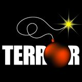 Word terror with bomb. On black background Royalty Free Stock Image