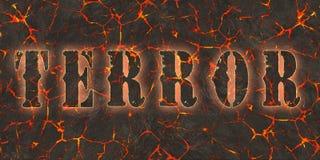 Word terror written on danger red lava Stock Images