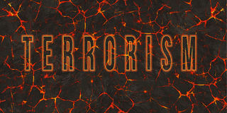 Word terrorism written on danger red lava Royalty Free Stock Images