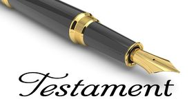 Testament. Word Testament written with fountain pen Royalty Free Stock Images