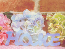 Word text home and gif box present with space copy backgroud made with vintage filter color Stock Photos