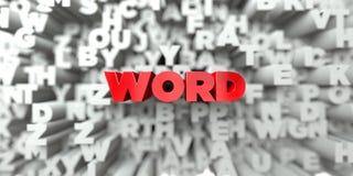 WORD - Texte rouge sur le fond de typographie - 3D a rendu l'image courante gratuite de redevance Photo libre de droits