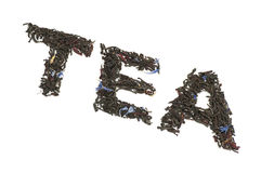 Word Thee van zwarte thee met droge bloemblaadjes wordt gemaakt dat Royalty-vrije Stock Foto's