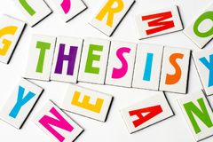 Word thesis made of colorful letters Stock Photo