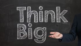 The word think big drawn on a chalk board,business concept prese Royalty Free Stock Images