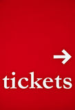 Word tickets on a red background Royalty Free Stock Images