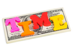 Word Time on money - business concept Royalty Free Stock Photos