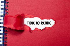 The word time to retire appearing behind torn paper. The word time to retire behind torn paper Stock Image