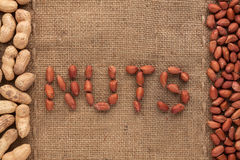 Word to  nuts write  nuts  on burlap Royalty Free Stock Photography