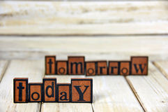 Word today and tomorrow in letterpress type Royalty Free Stock Images