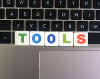 Word Tools on keyboard background.  royalty free stock photo