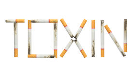 Word toxin made of cigarettes isolated on white background Stock Photo