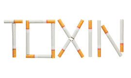 Word toxin made of cigarettes isolated on white background Royalty Free Stock Images
