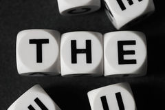 Word the on toy cubes Stock Images