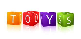 Word toys composed from letter cubes stock illustration