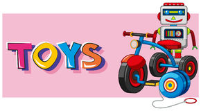 Word toys with robot and tricycle in background Royalty Free Stock Photography