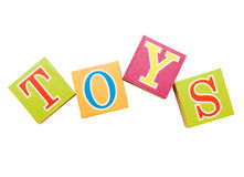 Word toys from toy cubes over white Royalty Free Stock Image