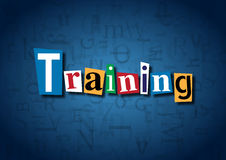 The word Training made from cutout letters. On a blue background Royalty Free Stock Photography