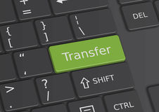 The word Transfer written on the keyboard. The word Transfer written on a green key from the keyboard Royalty Free Stock Photos