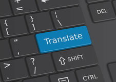 The word Translate written on the keyboard. The word Translate written on a blue key from the keyboard Royalty Free Stock Photography