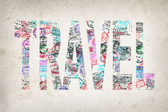 Word travel created with passport stamps Royalty Free Stock Image