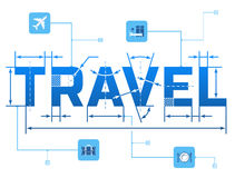 Word TRAVEL with dimension lines Stock Photos
