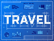 Word TRAVEL like blueprint drawing Stock Photo