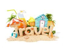 The word Travel made of sand on tropical island. Unusual 3d illustration of summer vacation. The word Travel made of sand on a tropical island. Unusual 3d stock illustration