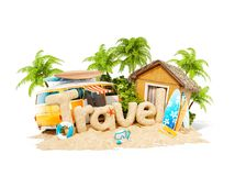 The word Travel made of sand on tropical island. Unusual 3d illustration of summer vacation. The word Travel made of sand on a tropical island. Unusual 3d vector illustration