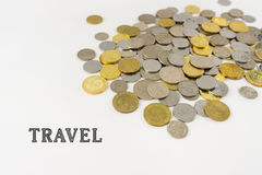 Word TRAVEL with Malaysia Coins. Flat lay design concept - Word TRAVEL with Malaysia coins isolated on the white background Royalty Free Stock Photos
