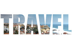 Word TRAVEL over view from the mountain over the rooftops. The m Royalty Free Stock Photography