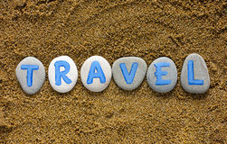 Word Travel spell out from stones Royalty Free Stock Image