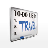 The word travel on to-do list whiteboard Royalty Free Stock Photos