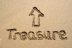 The word treasure on a beach. Royalty Free Stock Photography