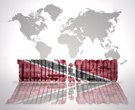 Word Trinidad and Tobago on a world map background Stock Photography