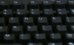 Word True on Computer. Keyboard royalty free stock images