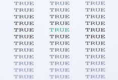 The word true surrounded by similar text Royalty Free Stock Photos