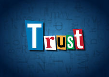 The word Trust made from cutout letters. On a blue background Stock Image