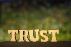 The word TRUST made of wooden letters on green background. stock images