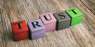 Word Trust on wooden blocks. 3d illustration. Word Trust on wooden blocks and wooden background. 3d illustration royalty free illustration