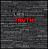 The word TRUTH hidden in a field of text Royalty Free Stock Image