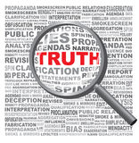 The word TRUTH hidden in a field of text. Revealed with a Magnif Royalty Free Stock Image
