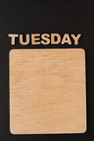 Word Tuesday with blank wooden board Royalty Free Stock Photos